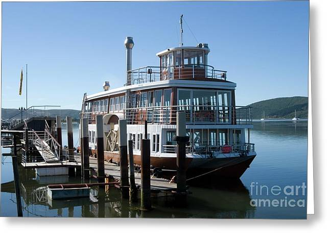 Ocean Landscape Greeting Cards - Paddleboat on Knysna Lagoon Greeting Card by Tony Mills