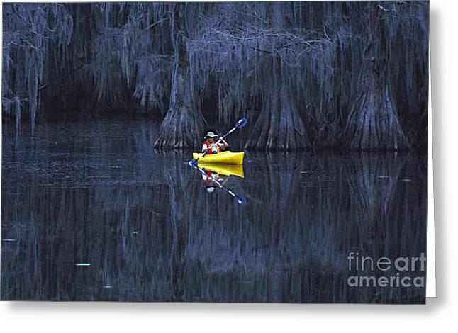 Moss Greeting Cards - Paddler At Caddo Lake Greeting Card by Bob Christopher