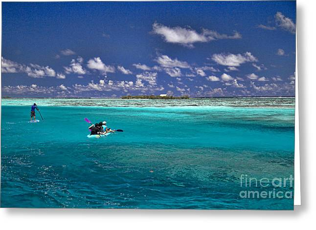 Peaceful Images Greeting Cards - Paddling in Moorea Greeting Card by David Smith