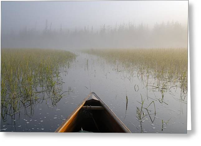 Boundary Waters Canoe Area Wilderness Greeting Cards - Paddling into the Fog Greeting Card by Larry Ricker