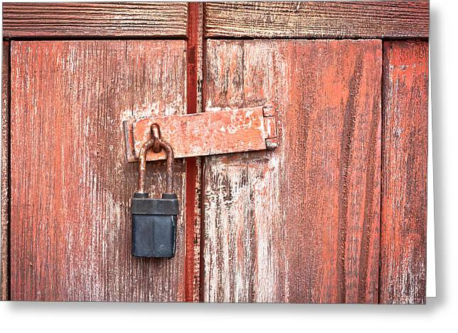 Safeguard Greeting Cards - Padlock Greeting Card by Tom Gowanlock