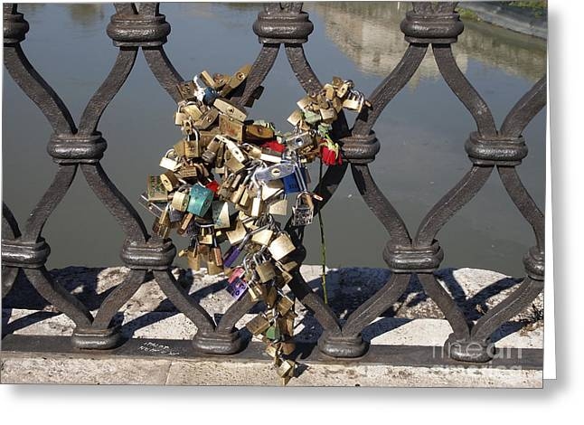 Labelled Greeting Cards - Padlocks on bridge. Rome Greeting Card by Bernard Jaubert