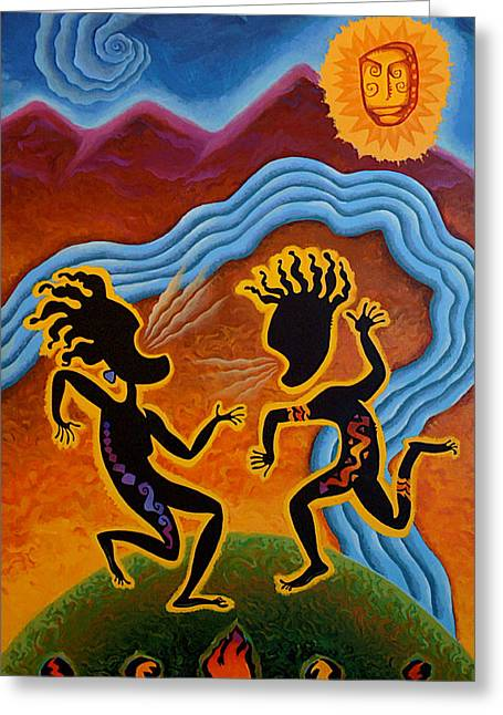 Tribal Paintings Greeting Cards - Paean To Gaia Greeting Card by Shawn Shea