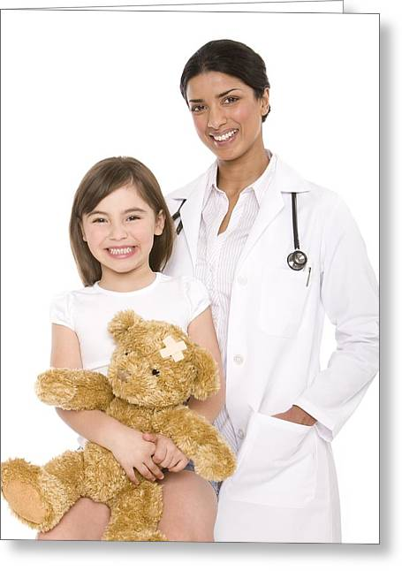 30-34 Years Greeting Cards - Paediatric Doctor And Patient Greeting Card by