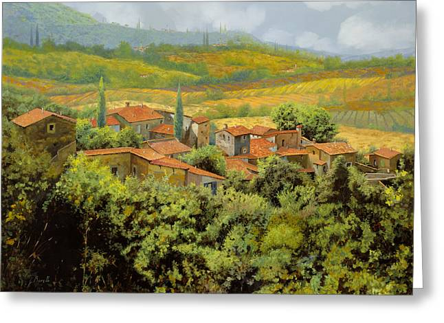 Roof Greeting Cards - Paesaggio Toscano Greeting Card by Guido Borelli