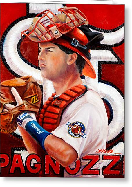 Baseball Glove Paintings Greeting Cards - Pagnozzi Greeting Card by Jim Wetherington
