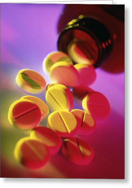 Pill Bottle Greeting Cards - Painkilling (analgesic) Pills Spilling From Bottle Greeting Card by Tek Image