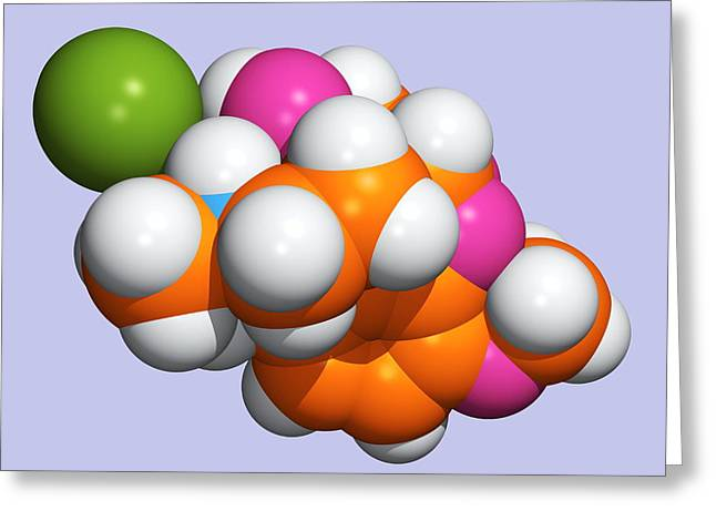 Pain Control Greeting Cards - Painkilling Drug Molecule Greeting Card by Dr Tim Evans