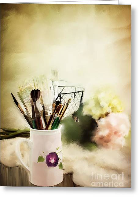 Table Cloth Greeting Cards - Paint Brushes and Flowers Greeting Card by Stephanie Frey