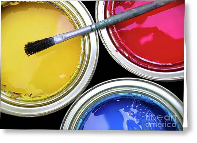 Vivid Colour Greeting Cards - Paint Cans Greeting Card by Carlos Caetano