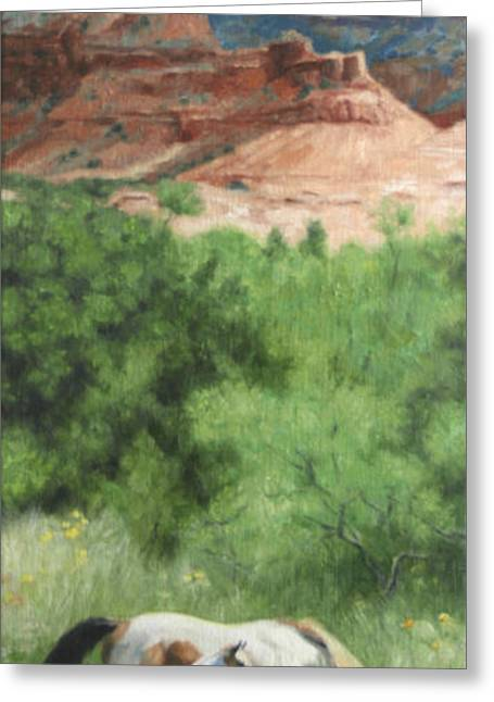 Mares Greeting Cards - Paint Horses at Caprock Canyons Greeting Card by Anna Bain