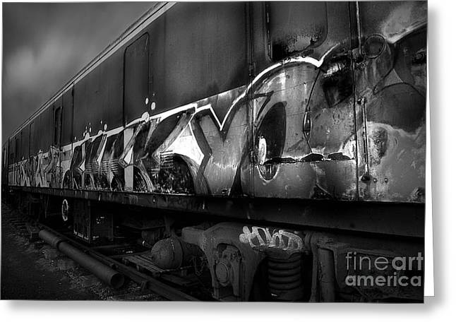 Abandoned Train Greeting Cards - Paint Job BW Greeting Card by Yhun Suarez