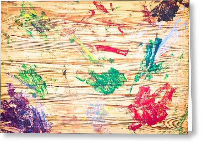 Childhood Art Greeting Cards - Paint marks Greeting Card by Tom Gowanlock