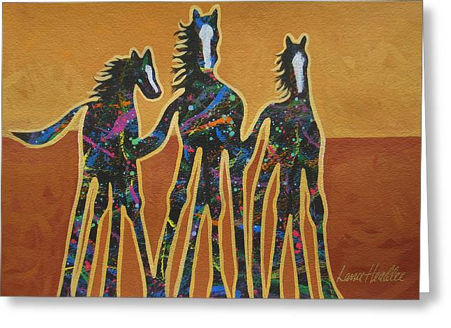 Arizona Contemporary Cowgirl Greeting Cards - Paint My Ponies Greeting Card by Lance Headlee