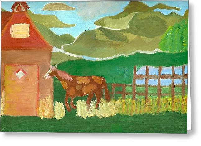 Red School House Greeting Cards - Paint Pony at Red Schoolhouse Greeting Card by Shannon SmithCumiford