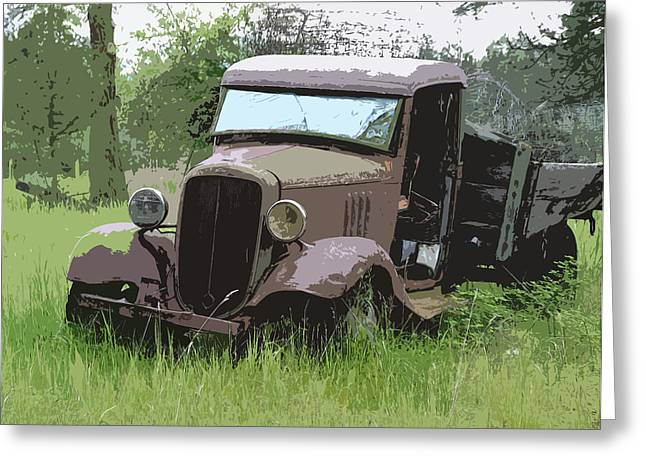 1932-1937 Greeting Cards - Painted 30s Chevy Truck Greeting Card by Steve McKinzie
