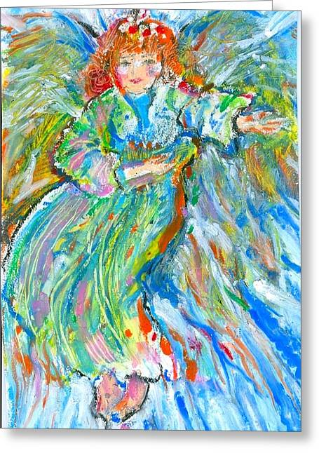 Spirituality Pastels Greeting Cards - Painted angel Greeting Card by Laurie Parker