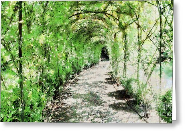 Arbour Greeting Cards - Painted Arbour Greeting Card by Ann Garrett