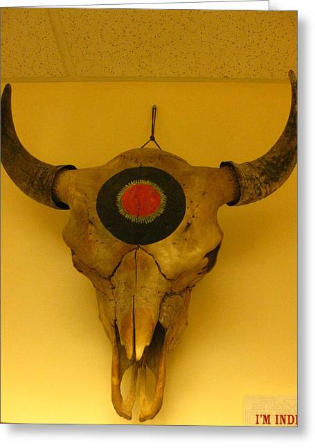 Sacred Sculptures Greeting Cards - Painted Bison Skull Greeting Card by Austen Brauker