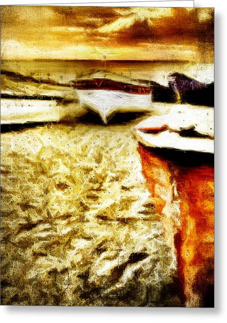 Yellow Sailboats Digital Art Greeting Cards - Painted Boats Greeting Card by Andrea Barbieri