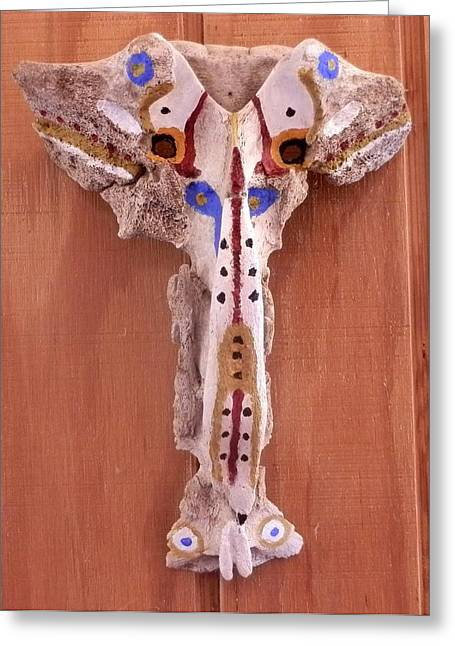 Desert Sculptures Greeting Cards - Painted Bone Greeting Card by Carolyn Cable