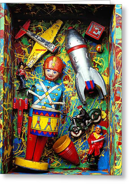 Drummers Photographs Greeting Cards - Painted box full of old toys Greeting Card by Garry Gay