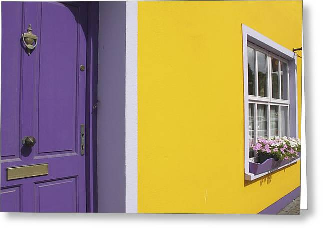 Flower Boxes Greeting Cards - Painted Buildings On Main Street In Greeting Card by Trish Punch