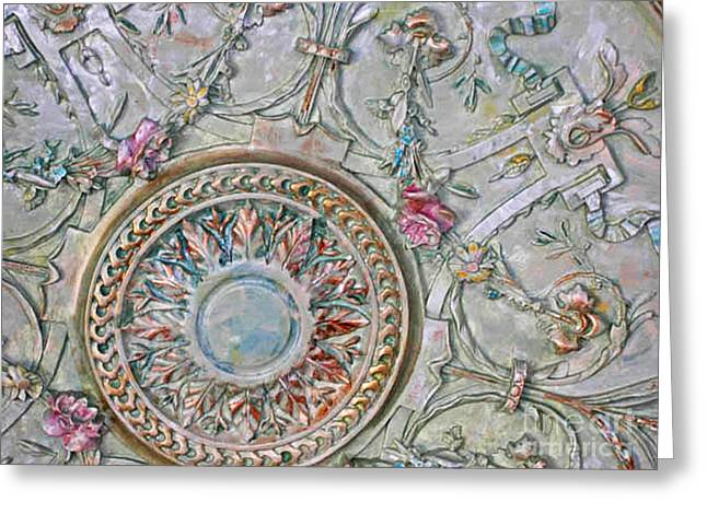Faux Finish Greeting Cards - Painted ceiling medallion 32inch Greeting Card by Lizi Beard-Ward
