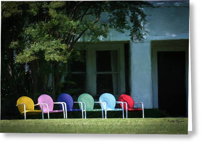 Lawn Chair Digital Greeting Cards - Painted Chairs    1020 Greeting Card by Fritz Ozuna