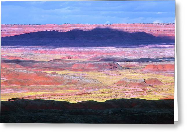 Color_image Greeting Cards - Painted Desert Cloud Shadow Greeting Card by John Brink