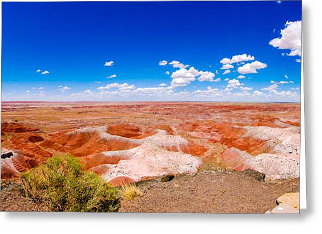 Petrified Forest Arizona Greeting Cards - Painted Desert Panorama Greeting Card by David Waldo