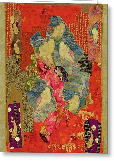 People Tapestries - Textiles Greeting Cards - Painted Geisha Greeting Card by Roberta Baker