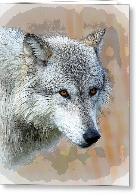 Award Winning Art Greeting Cards - Painted Grey Wolf Greeting Card by Steve McKinzie