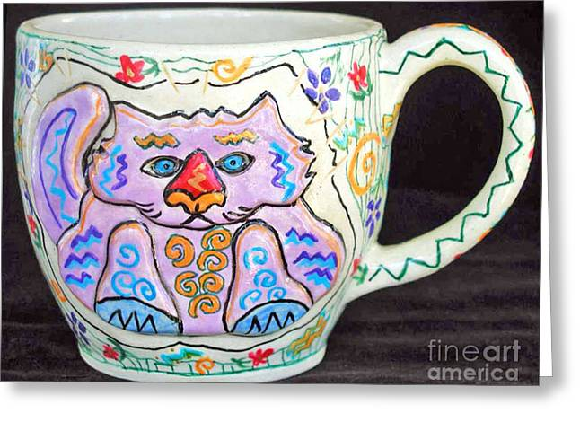 Whimsical. Ceramics Greeting Cards - Painted Kitty Mug Greeting Card by Joyce Jackson