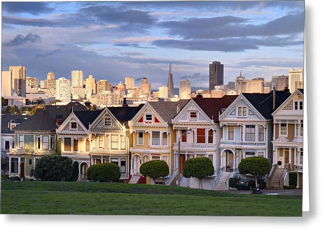 Sunset Greeting Cards - Painted Ladies in SF California Greeting Card by Pierre Leclerc Photography