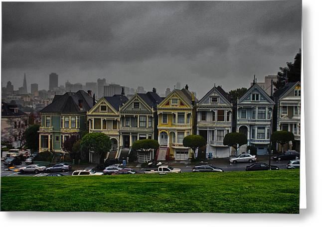 San Francisco Bay Pyrography Greeting Cards - Painted Ladies Greeting Card by John Scharle