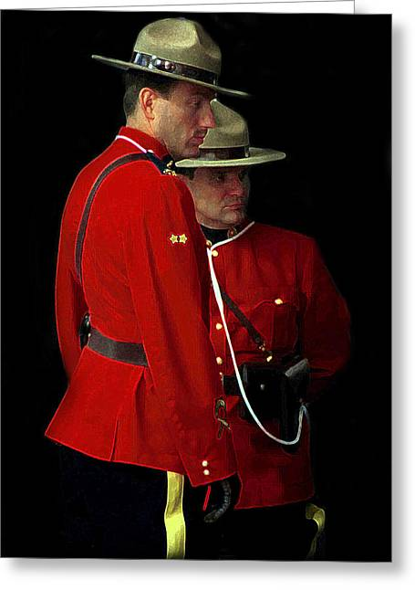 P.r. Greeting Cards - Painted Mounties Greeting Card by Andrew Fare