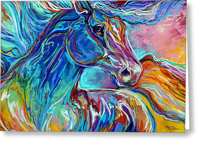 Equines Pastels Greeting Cards - PAINTED PONY ABSTRACT in PASTEL Greeting Card by Marcia Baldwin
