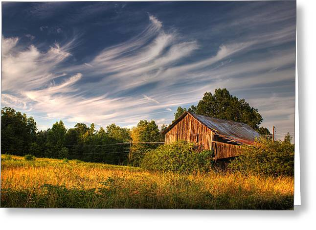 Best Sellers -  - Tin Roof Greeting Cards - Painted Sky Barn Greeting Card by Benanne Stiens