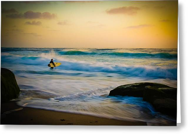 Paint Photograph Greeting Cards - Painted Surfer Greeting Card by Kelly Wade