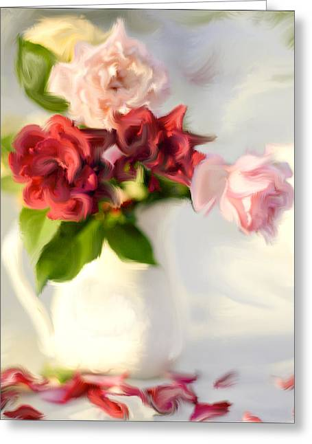 Rose Petals Greeting Cards - Painted Teas Greeting Card by Linde Townsend
