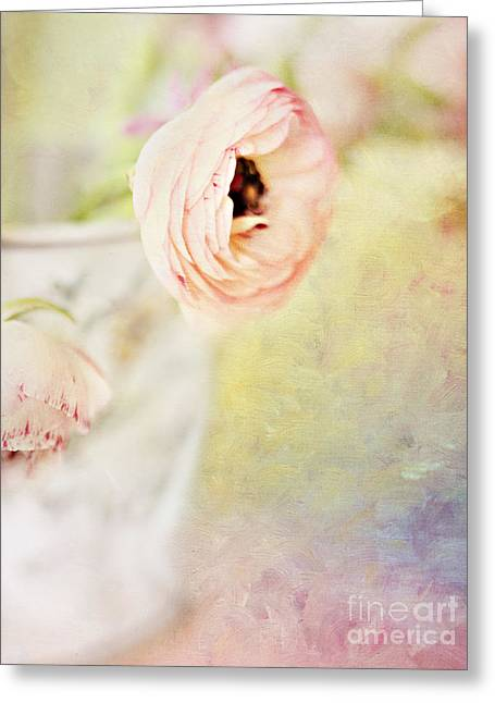 """indoor"" Still Life Digital Art Greeting Cards - Painterly Pink Ranunculus in Vase Greeting Card by Susan Gary"