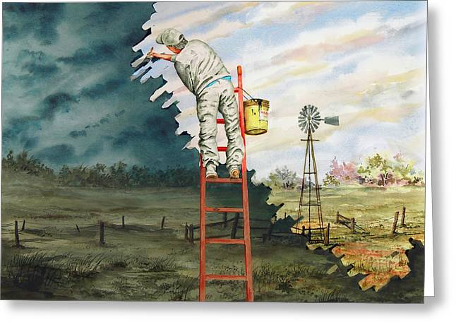 Surreal Landscape Paintings Greeting Cards - Paintin Up A Storm Greeting Card by Sam Sidders