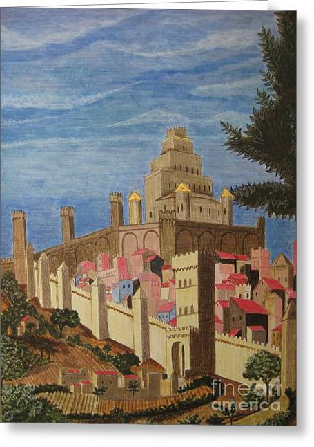 Egg Tempera Paintings Greeting Cards - Painting   Medieval City Greeting Card by Judy Via-Wolff