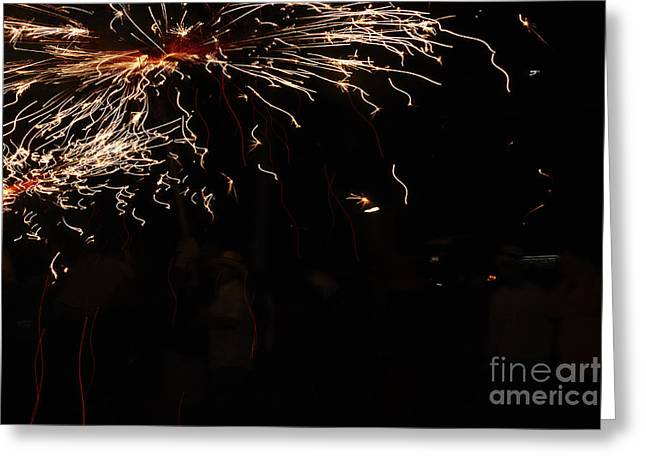 Fuegos Artificiales Greeting Cards - Painting Greeting Card by Agusti Pardo Rossello