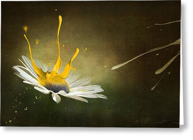 Daisies Mixed Media Greeting Cards - Painting Daisy Greeting Card by Svetlana Sewell