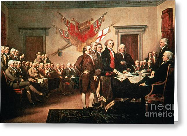 John Trumbull Greeting Cards - Painting Declaration Of Independence Greeting Card by Photo Researchers, Inc.