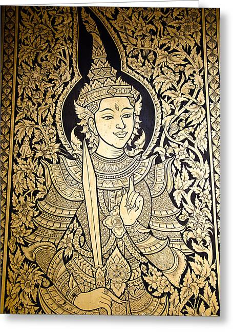 Painting Gold Leaf On The Door Of A Buddhist Temple. Photograph by