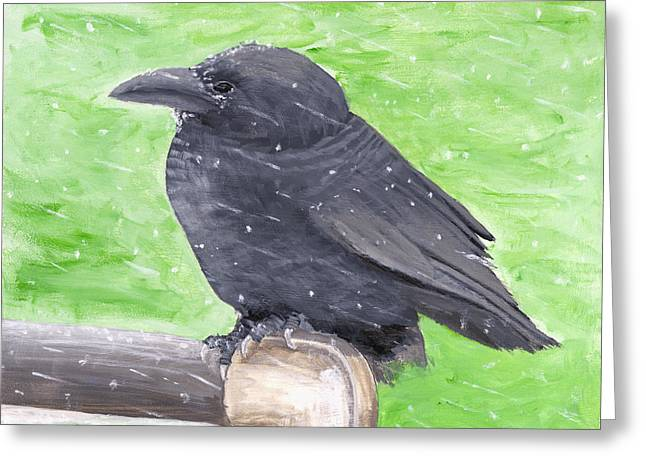Crows Paintings Greeting Cards - Painting Of Crow In Snowstorm Greeting Card by Keith Webber Jr
