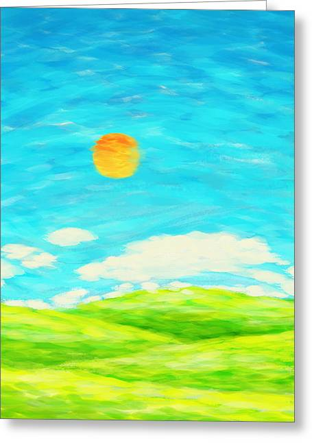 Colorful Sunset Greeting Cards Greeting Cards - Painting Of Nature In Spring And Summer Greeting Card by Setsiri Silapasuwanchai